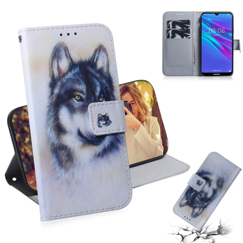 White Wolf Pattern Coloured Drawing Horizontal Flip Leather Case for Huawei Y6 (2019), with Holder & Card Slots & Wallet