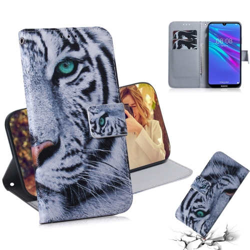 Tiger Pattern Coloured Drawing Horizontal Flip Leather Case for Huawei Y6 (2019), with Holder & Card Slots & Wallet