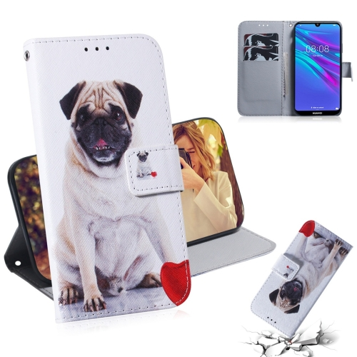 Pug Pattern Coloured Drawing Horizontal Flip Leather Case for Huawei Y6 (2019), with Holder & Card Slots & Wallet
