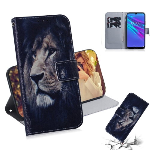 Lion Pattern Coloured Drawing Horizontal Flip Leather Case for Huawei Y6 (2019), with Holder & Card Slots & Wallet