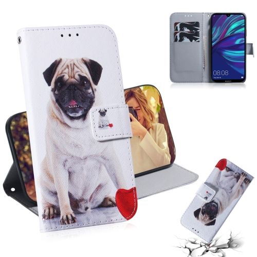 Pug Pattern Coloured Drawing Horizontal Flip Leather Case for Huawei Y7 Prime (2019) / Y7 Pro (2019) / Enjoy 9, with Holder & Card Slots & Wallet