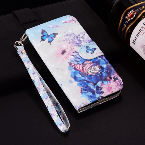 Butterfly Flower Pattern Colored Drawing Horizontal Flip Leather Case for Huawei P30 Lite, with Holder & Card Slots & Wallet & Lanyard
