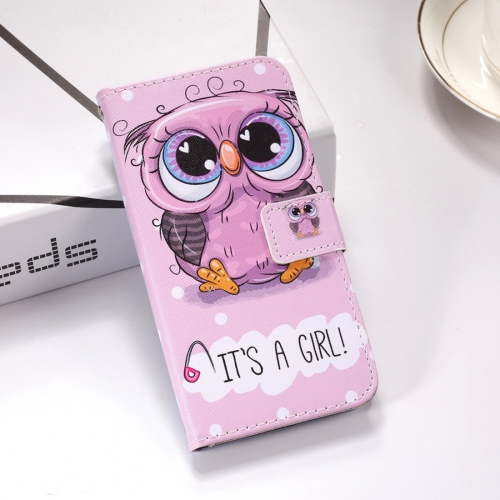 Cute Owl Pattern Colored Drawing Horizontal Flip Leather Case for Huawei P Smart (2019), with Holder & Card Slots & Wallet & Lanyard