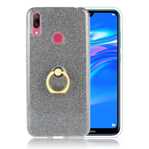 Glittery Powder Shockproof TPU Protective Case for Huawei Y7 (2019), with 360 Degree Rotation Ring Holder (Black)