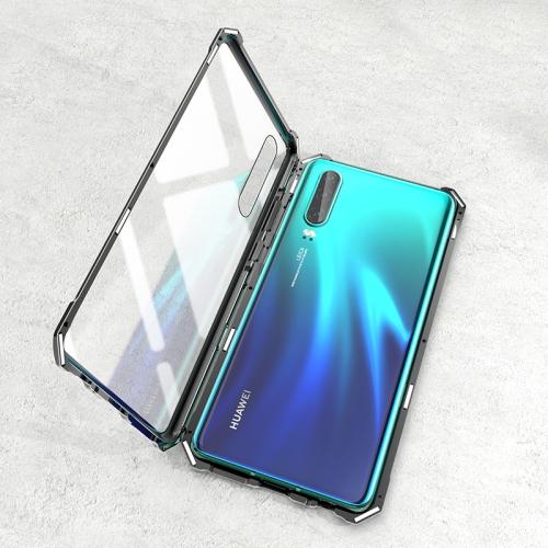 Ultra Slim Magnetic Tempered Glass Magnet Flip Case for Huawei P30 Pro (Black)