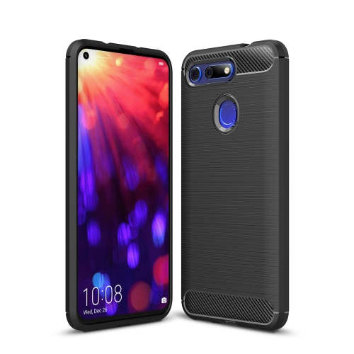 Brushed Texture Carbon Fiber Shockproof TPU Case for Huawei Honor View 20(Black)
