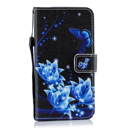 Blue Butterfly Flower Pattern Horizontal Flip Leather Case for Huawei Enjoy 9, with Holder & Card Slots & Wallet