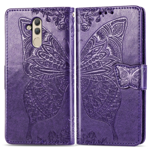 Butterfly Love Flowers Embossing Horizontal Flip Leather Case for  Huawei Mate 20 Lite  with Holder & Card Slots & Wallet (Dark Purple)