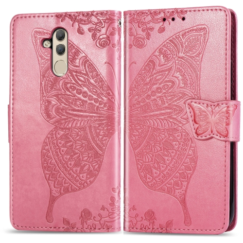 Butterfly Love Flowers Embossing Horizontal Flip Leather Case for  Huawei Mate 20 Lite  with Holder & Card Slots & Wallet (Pink)