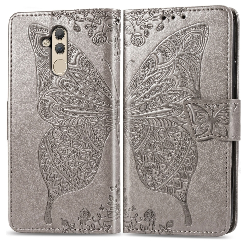 Butterfly Love Flowers Embossing Horizontal Flip Leather Case for  Huawei Mate 20 Lite  with Holder & Card Slots & Wallet (Grey)
