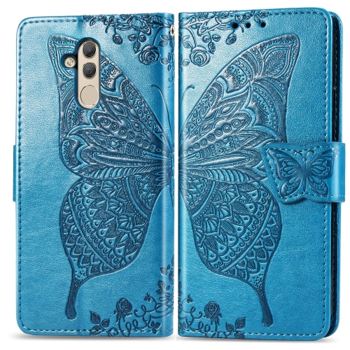 Butterfly Love Flowers Embossing Horizontal Flip Leather Case for  Huawei Mate 20 Lite  with Holder & Card Slots & Wallet (Blue)