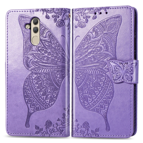 Butterfly Love Flowers Embossing Horizontal Flip Leather Case for  Huawei Mate 20 Lite  with Holder & Card Slots & Wallet (Light Purple)