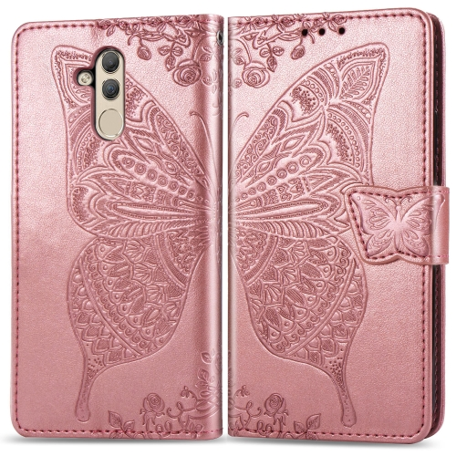 Butterfly Love Flowers Embossing Horizontal Flip Leather Case for  Huawei Mate 20 Lite  with Holder & Card Slots & Wallet (Rose Gold)