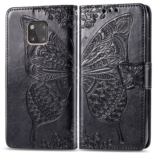 Butterfly Love Flowers Embossing Horizontal Flip Leather Case for  Huawei Mate 20 Pro  with Holder & Card Slots & Wallet (Black)