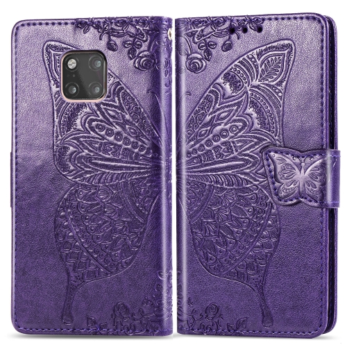 Butterfly Love Flowers Embossing Horizontal Flip Leather Case for  Huawei Mate 20 Pro  with Holder & Card Slots & Wallet (Dark Purple)