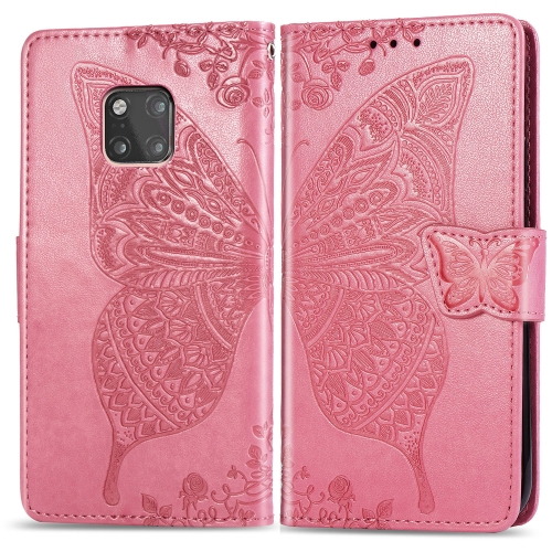 Butterfly Love Flowers Embossing Horizontal Flip Leather Case for  Huawei Mate 20 Pro  with Holder & Card Slots & Wallet (Pink)