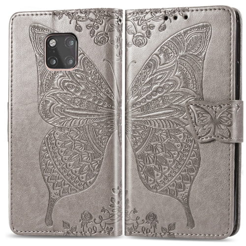 Butterfly Love Flowers Embossing Horizontal Flip Leather Case for  Huawei Mate 20 Pro  with Holder & Card Slots & Wallet (Grey)