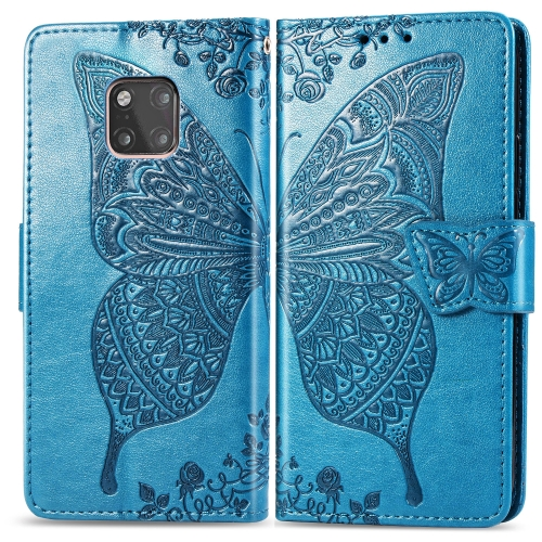Butterfly Love Flowers Embossing Horizontal Flip Leather Case for  Huawei Mate 20 Pro  with Holder & Card Slots & Wallet (Blue)