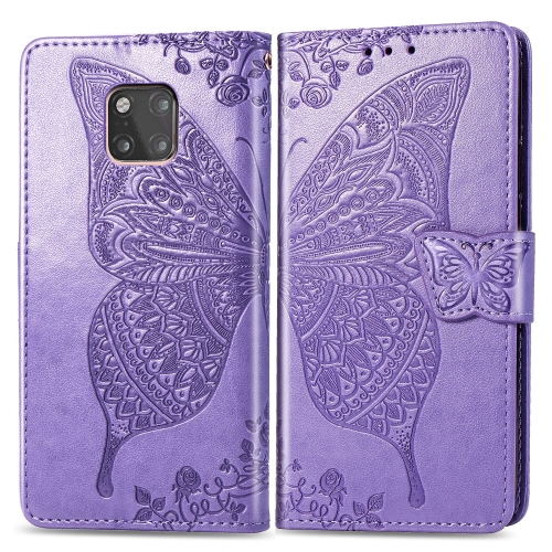 Butterfly Love Flowers Embossing Horizontal Flip Leather Case for  Huawei Mate 20 Pro  with Holder & Card Slots & Wallet (Light Purple)