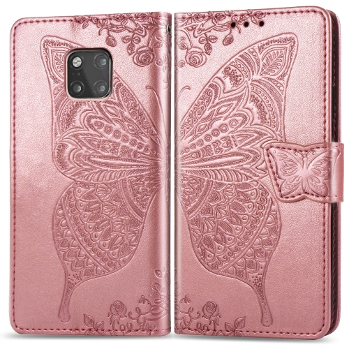 Butterfly Love Flowers Embossing Horizontal Flip Leather Case for  Huawei Mate 20 Pro  with Holder & Card Slots & Wallet (Rose Gold)