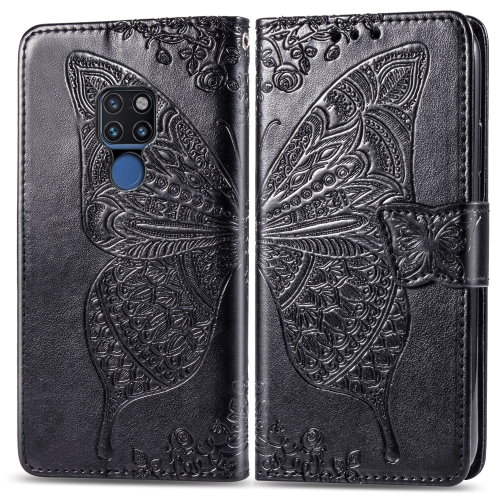 Butterfly Love Flowers Embossing Horizontal Flip Leather Case for  Huawei Mate 20  with Holder & Card Slots & Wallet & Lanyard(Black)