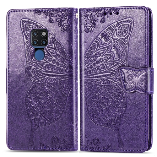 Butterfly Love Flowers Embossing Horizontal Flip Leather Case for  Huawei Mate 20  with Holder & Card Slots & Wallet & Lanyard (Dark Purple)