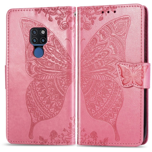Butterfly Love Flowers Embossing Horizontal Flip Leather Case for  Huawei Mate 20  with Holder & Card Slots & Wallet & Lanyard (Pink)
