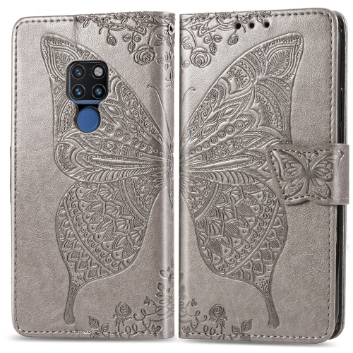 Butterfly Love Flowers Embossing Horizontal Flip Leather Case for  Huawei Mate 20  with Holder & Card Slots & Wallet & Lanyard (Grey)