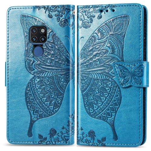 Butterfly Love Flowers Embossing Horizontal Flip Leather Case for  Huawei Mate 20  with Holder & Card Slots & Wallet & Lanyard (Blue)