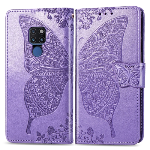 Butterfly Love Flowers Embossing Horizontal Flip Leather Case for  Huawei Mate 20  with Holder & Card Slots & Wallet & Lanyard (Light Purple)