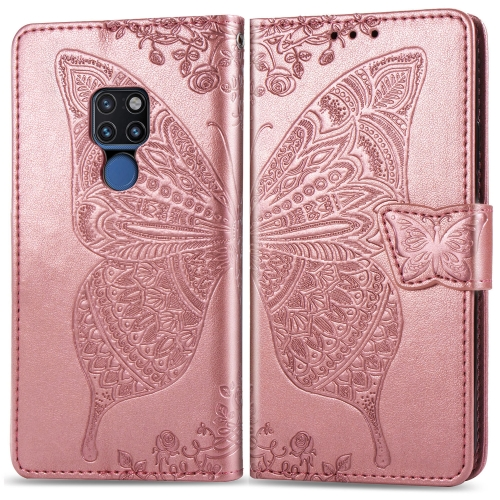 Butterfly Love Flowers Embossing Horizontal Flip Leather Case for  Huawei Mate 20  with Holder & Card Slots & Wallet & Lanyard (Rose Gold)