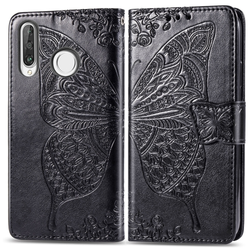 Butterfly Love Flowers Embossing Horizontal Flip Leather Case for  Huawei P30 Lite / Nova 4e  with Holder & Card Slots & Wallet & Lanyard (Black)