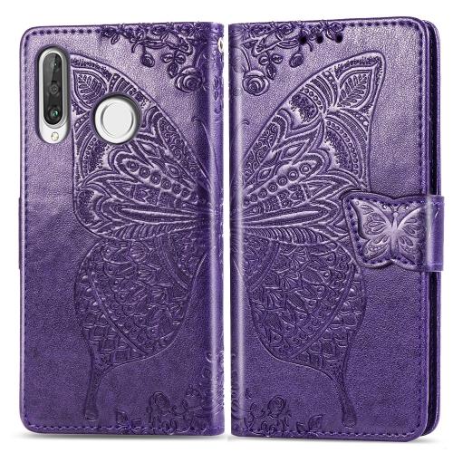 Butterfly Love Flowers Embossing Horizontal Flip Leather Case for   Huawei P30 Lite / Nova 4e  with Holder & Card Slots & Wallet & Lanyard (Dark Purple)