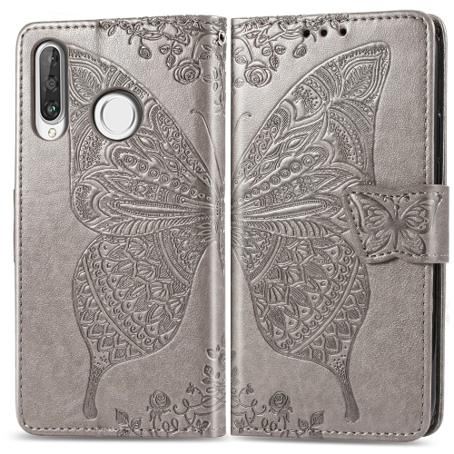 Butterfly Love Flowers Embossing Horizontal Flip Leather Case for   Huawei P30 Lite / Nova 4e  with Holder & Card Slots & Wallet & Lanyard (Grey)