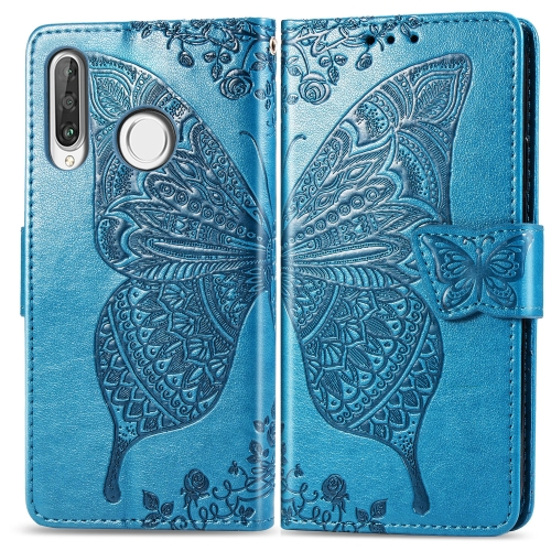 Butterfly Love Flowers Embossing Horizontal Flip Leather Case for   Huawei P30 Lite / Nova 4e  with Holder & Card Slots & Wallet & Lanyard (Blue)