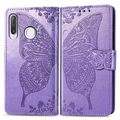 Butterfly Love Flowers Embossing Horizontal Flip Leather Case for   Huawei P30 Lite / Nova 4e  with Holder & Card Slots & Wallet & Lanyard (Light Purple)