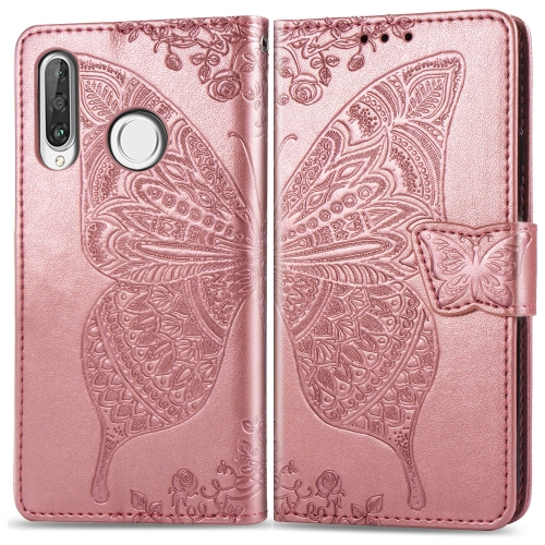 Butterfly Love Flowers Embossing Horizontal Flip Leather Case for   Huawei P30 Lite / Nova 4e  with Holder & Card Slots & Wallet & Lanyard (Rose Gold)