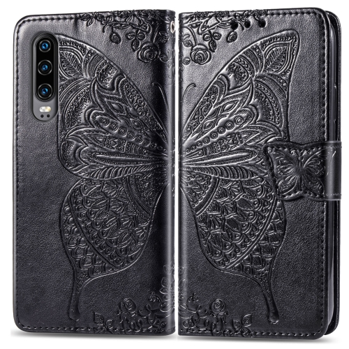 Butterfly Love Flowers Embossing Horizontal Flip Leather Case for  Huawei P30  with Holder & Card Slots & Wallet & Lanyard (Black)