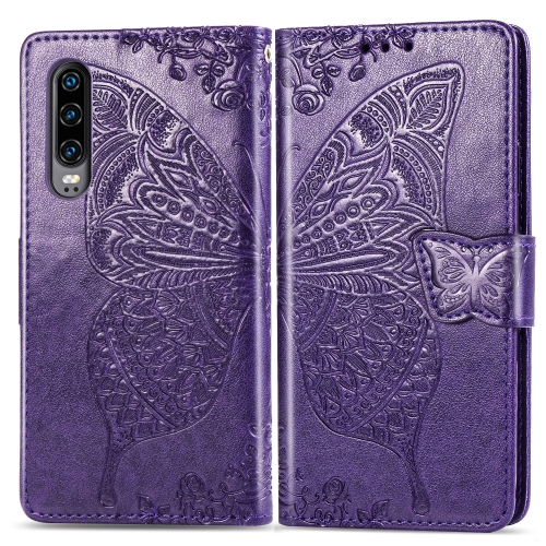 Butterfly Love Flowers Embossing Horizontal Flip Leather Case for  Huawei P30  with Holder & Card Slots & Wallet & Lanyard(Dark Purple)