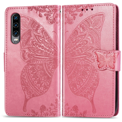 Butterfly Love Flowers Embossing Horizontal Flip Leather Case for  Huawei P30  with Holder & Card Slots & Wallet & Lanyard (Pink)