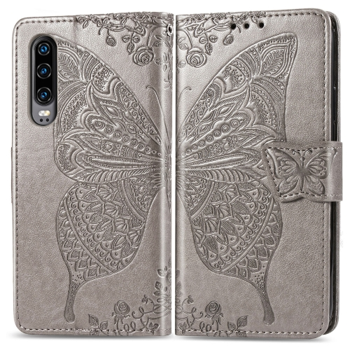 Butterfly Love Flowers Embossing Horizontal Flip Leather Case for  Huawei P30  with Holder & Card Slots & Wallet & Lanyard (Grey)