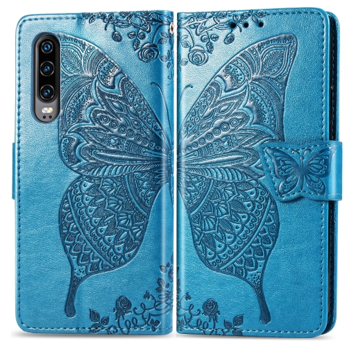 Butterfly Love Flowers Embossing Horizontal Flip Leather Case for  Huawei P30  with Holder & Card Slots & Wallet & Lanyard (Blue)