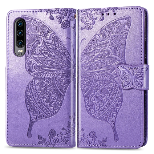 Butterfly Love Flowers Embossing Horizontal Flip Leather Case for  Huawei P30  with Holder & Card Slots & Wallet & Lanyard (Light Purple)