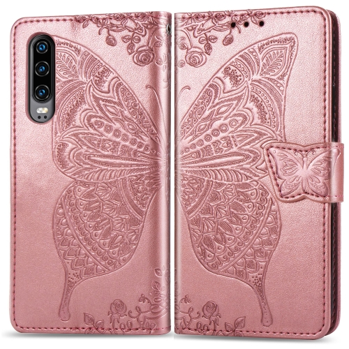 Butterfly Love Flowers Embossing Horizontal Flip Leather Case for  Huawei P30  with Holder & Card Slots & Wallet & Lanyard (Rose Gold)