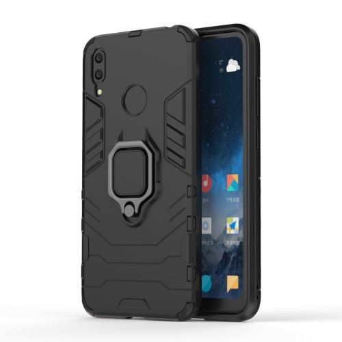 Shockproof PC + TPU Case with Magnetic Ring Holder for Huawei Y7 (2019)(Black)
