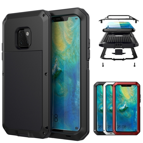 Tank Waterproof Dustproof Shockproof Aluminum Alloy + Silicone Case for Huawei Mate 20 Pro (Black)