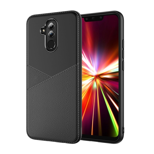 Ultra-thin Shockproof Soft TPU + Leather Case for Huawei Mate 20 Lite (Black)