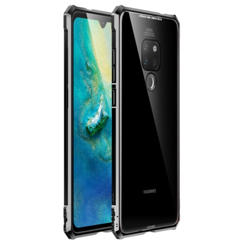 Snap-on Aluminum Frame and Tempered Glass Back Plate Case for Huawei Mate 20(Black)