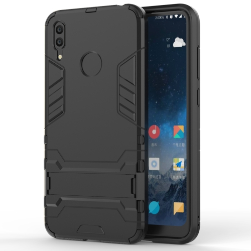 Shockproof PC + TPU Case for Huawei Y7(2019), with Holder(Black)