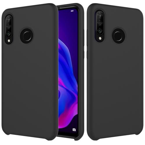 Solid Color Liquid Silicone Dropproof Protective Case for Huawei P30 Lite/Nova 4e(Black)